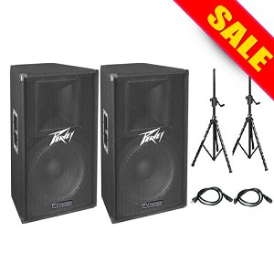 Peavey PV115D (2) Package with stands & cables