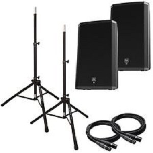 EV ELX112P Powered Speaker Package w/stands & cables